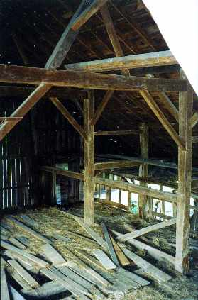 Saltbox style bank barn from vintage log and lumber for Saltbox house additions