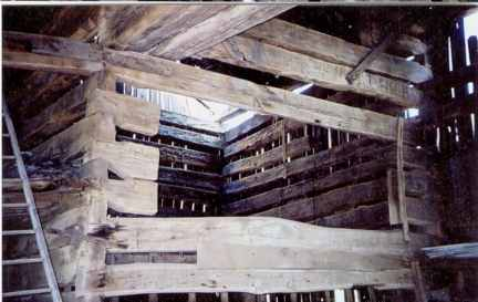 Double Pen Log Barn, large face, Oak logs, 20' breezeway.